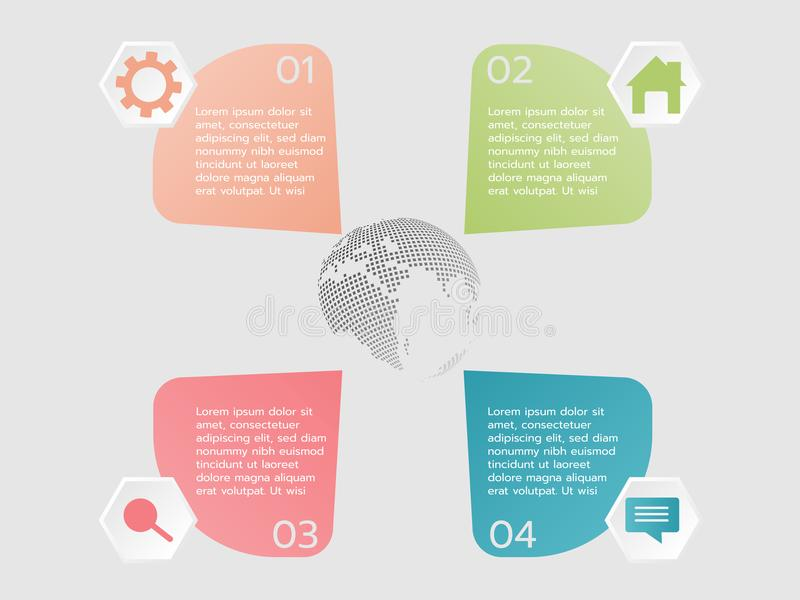 Ícone de quatro etapas e amostra infographic do texto para usado ilustração do vetor