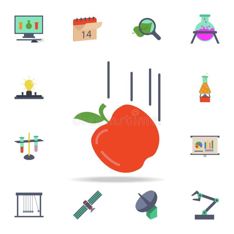ícone de queda colorido da maçã Grupo detalhado de ícones da ciência colorida Projeto gráfico superior Um dos ícones da coleção p ilustração stock