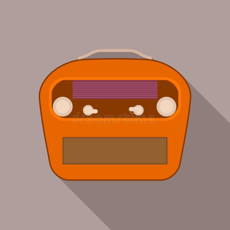 Ícone de rádio portátil do vintage, estilo liso ilustração royalty free