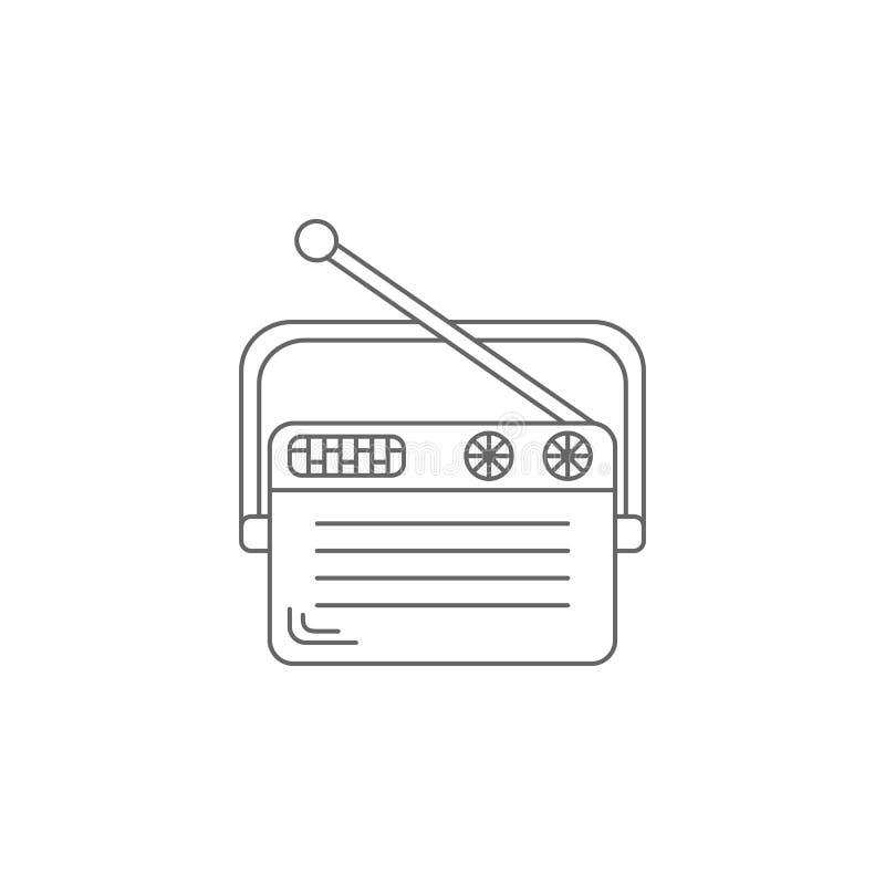 Ícone de rádio velho Ilustração simples do elemento Molde de rádio velho do projeto do símbolo Pode ser usado para a Web e o móbi ilustração royalty free