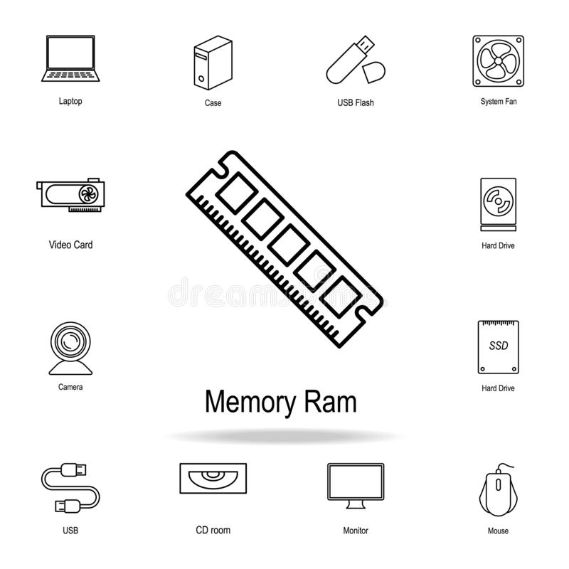 Ícone de RAM da memória do PC Grupo detalhado de ícones da peça do computador Projeto gráfico superior Um dos ícones da coleção p ilustração stock