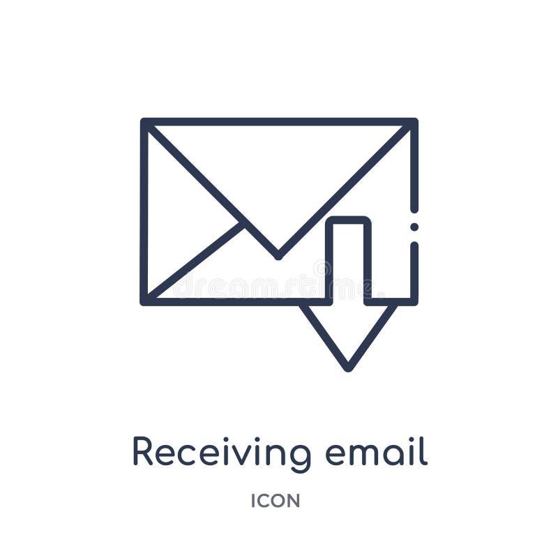 Ícone de recepção linear do e-mail da coleção do esboço de Comunation Linha fina que recebe o vetor do e-mail isolado no fundo br ilustração royalty free