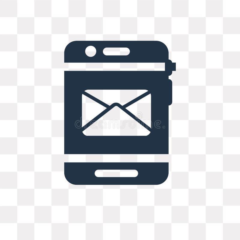 Ícone de recepção móvel do vetor do email isolado no backg transparente ilustração royalty free