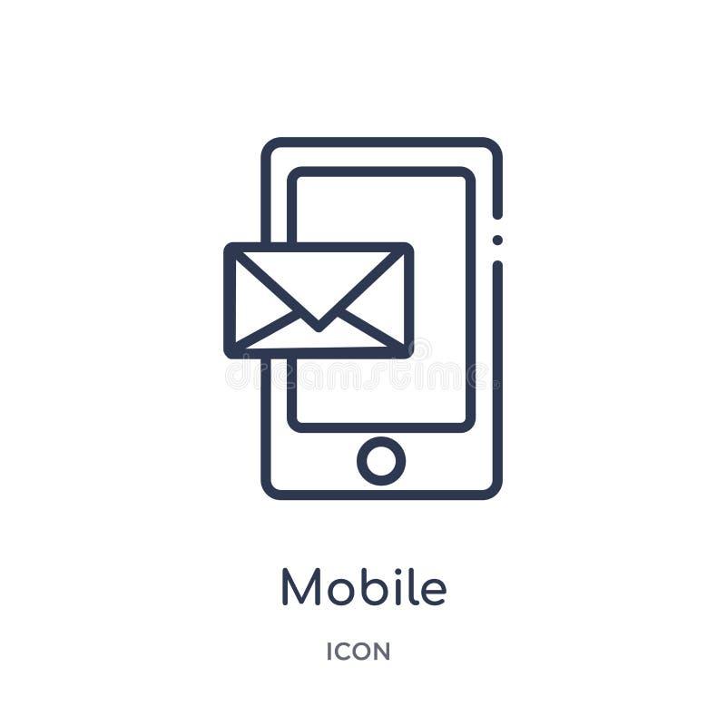 Ícone de recepção móvel linear do e-mail da coleção do esboço de Comunation Linha fina vetor de recepção móvel do e-mail isolado  ilustração stock