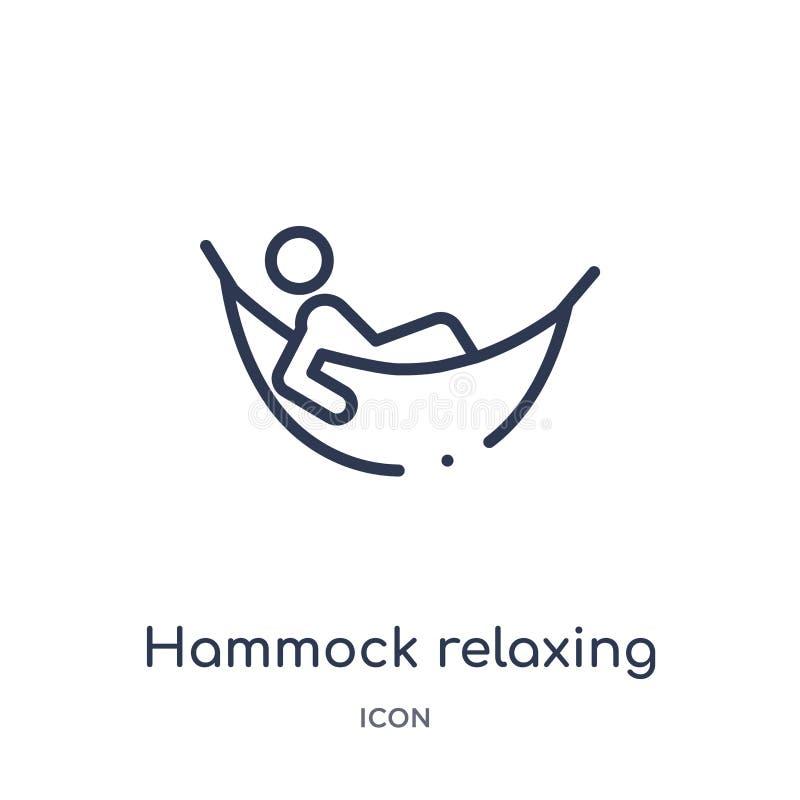 Ícone de relaxamento da rede linear da coleção do esboço dos feriados Linha fina ícone de relaxamento da rede isolado no fundo br ilustração royalty free