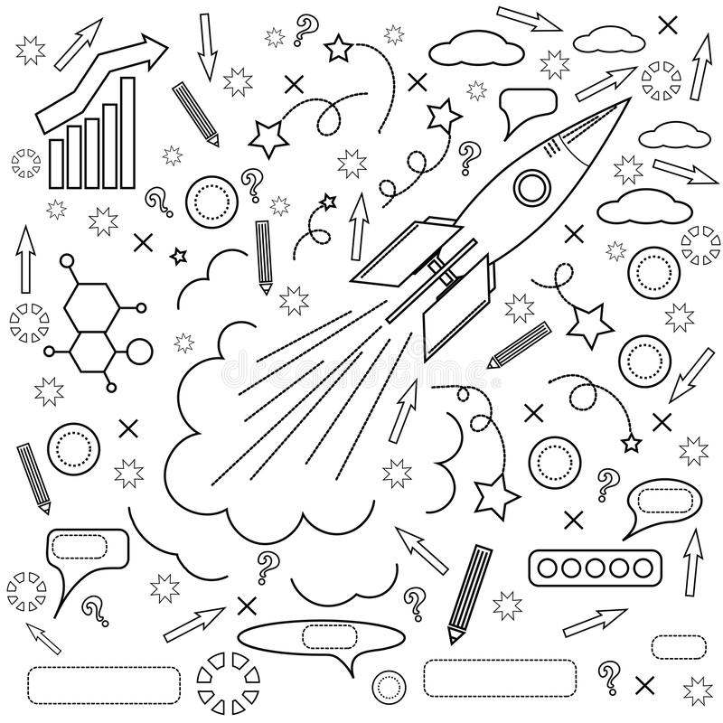 Ícone de Rocket Conceito do sucesso, iniciativas ilustração do vetor