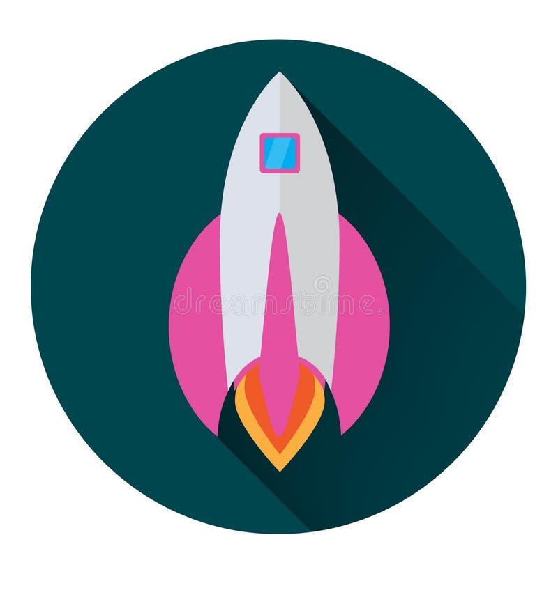 Ícone de Rocket no estilo liso em um círculo verde com uma sombra longa conceptual ilustração stock