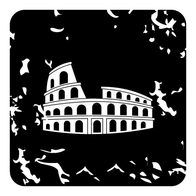 Ícone de Roman Colosseum, estilo do grunge ilustração do vetor