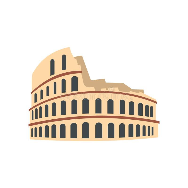 Ícone de Roman Colosseum, estilo liso ilustração stock