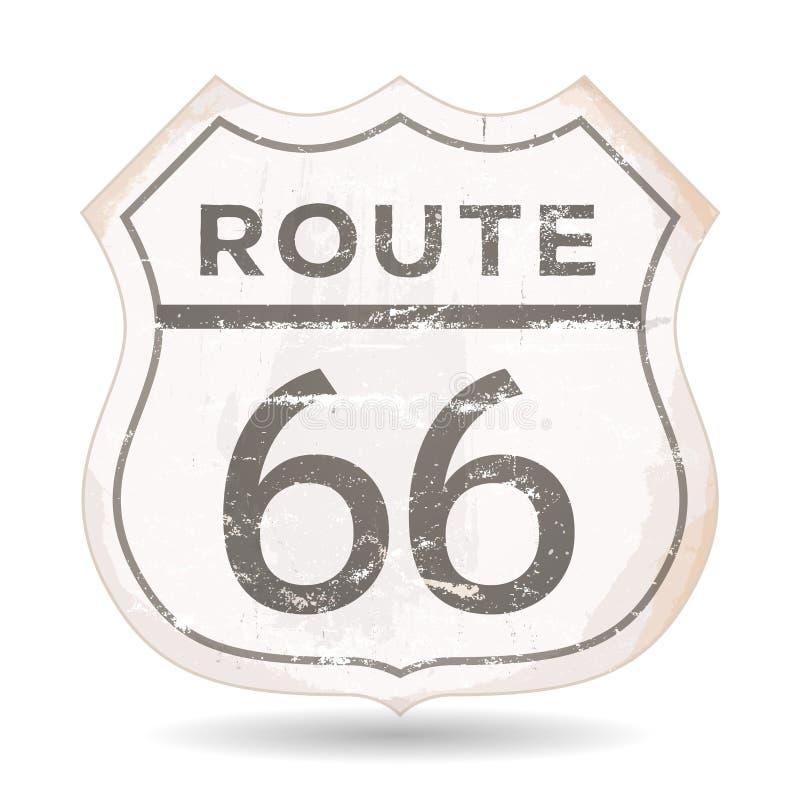 Ícone de Route 66 com texturas do Grunge e da oxidação ilustração royalty free