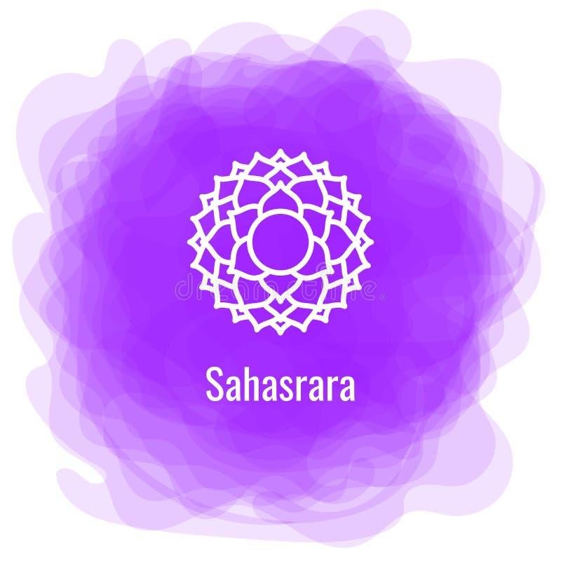 Ícone de Sahasrara A sétima coroa, chakra parietal Círculo fumarento roxo do vetor Linha símbolo Sinal sacral meditation ilustração stock