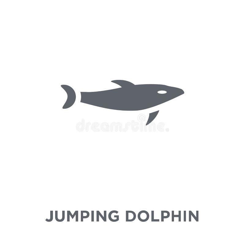 Ícone de salto do golfinho da coleção do verão ilustração stock