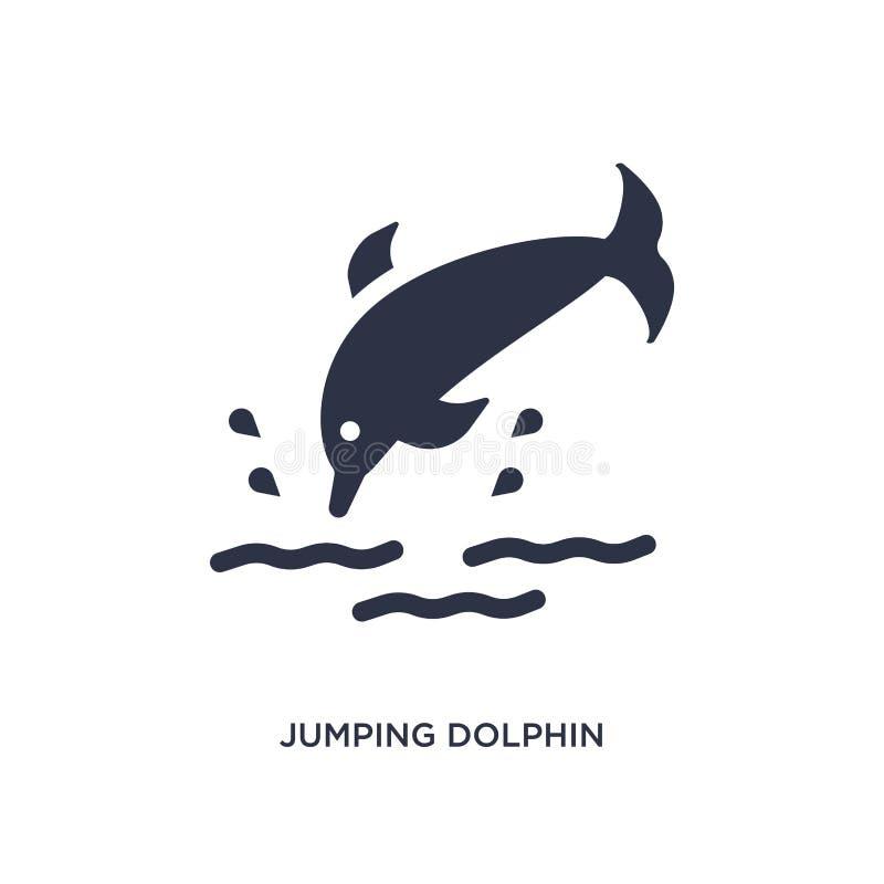 ícone de salto do golfinho no fundo branco Ilustração simples do elemento do conceito do verão ilustração stock