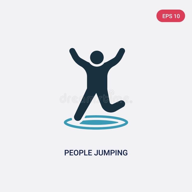 Ícone de salto do vetor dos povos de duas cores do conceito recreacional dos jogos o símbolo de salto isolado do sinal do vetor d ilustração royalty free