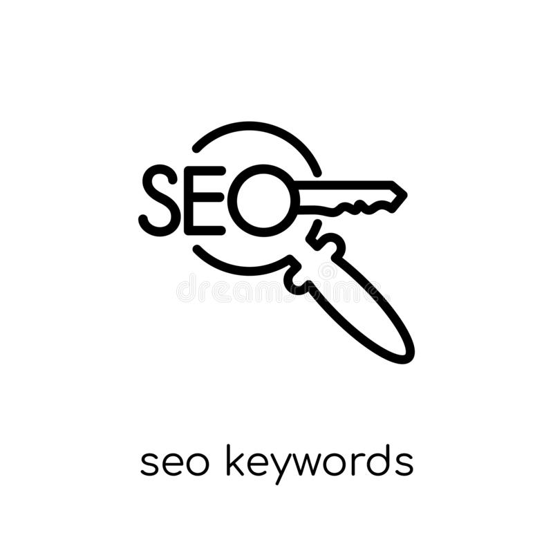 Ícone de SEO Keywords Vetor linear liso moderno na moda SEO Keywords ilustração do vetor