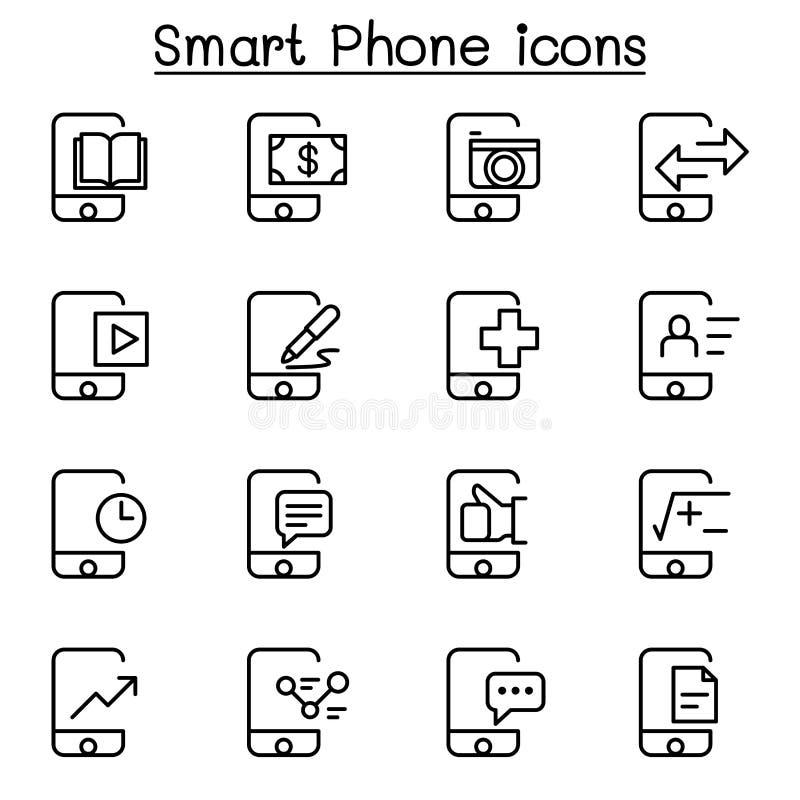 Ícone de Smartphone ajustado na linha estilo fina ilustração stock