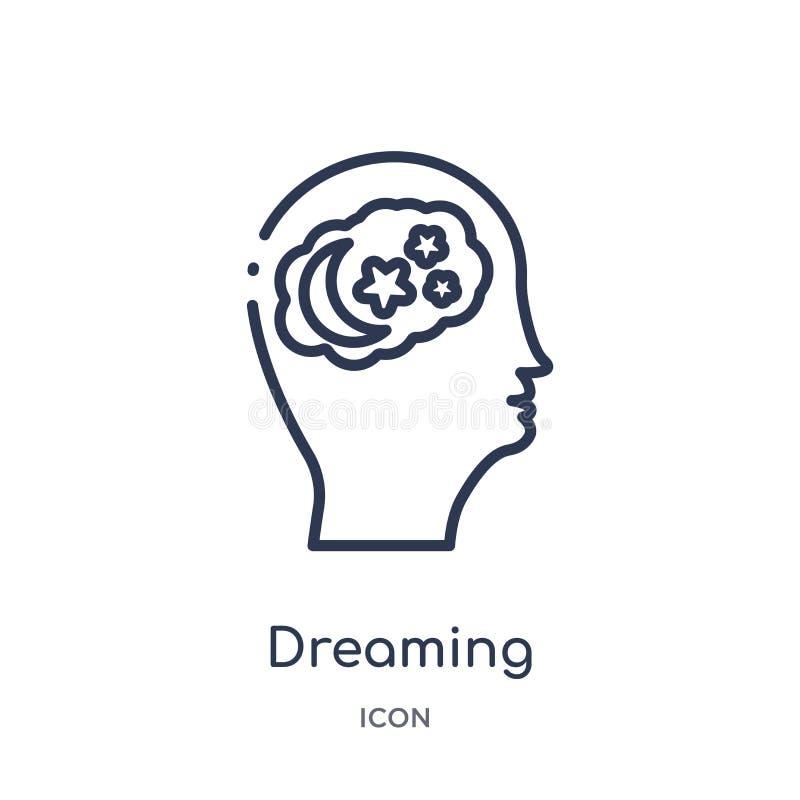 Ícone de sonho linear da coleção do esboço do processo do cérebro Linha fina que sonha o vetor isolado no fundo branco Sonho ilustração do vetor