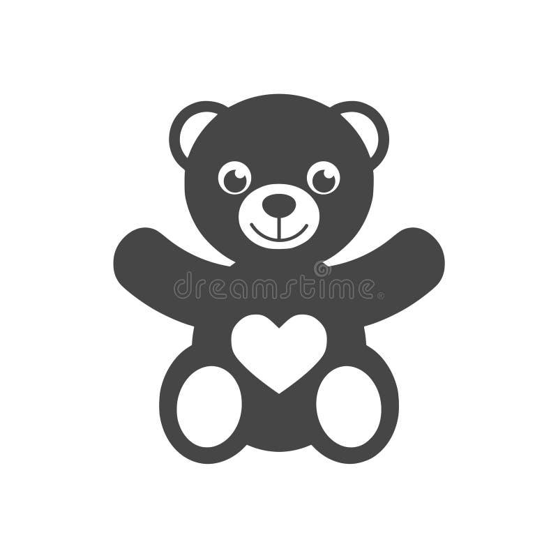 Ícone de sorriso bonito ou logotipo do urso de peluche ilustração stock