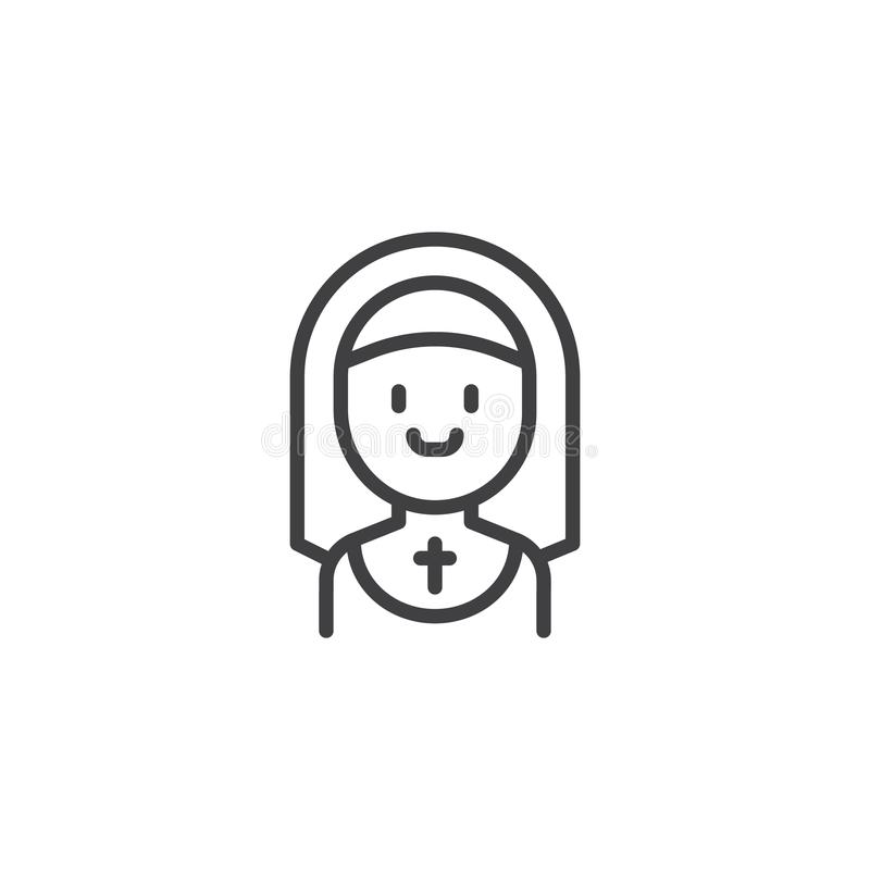 Ícone de sorriso do esboço da freira ilustração stock