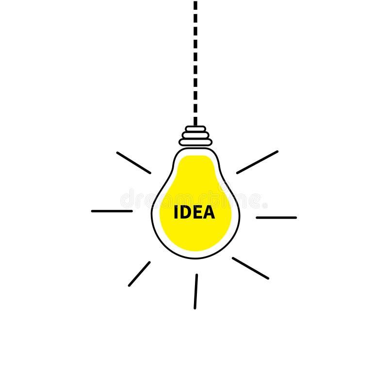 Ícone de suspensão da ampola Texto da ideia para dentro Efeito de brilho Linha do traço Interruptor amarelo da cor na lâmpada Con ilustração royalty free