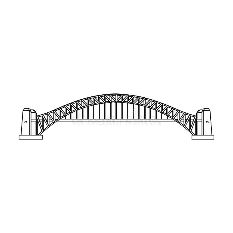 Ícone de Sydney Harbour Bridge no estilo do esboço isolado no fundo branco Ilustração do vetor do estoque do símbolo de Austrália ilustração royalty free
