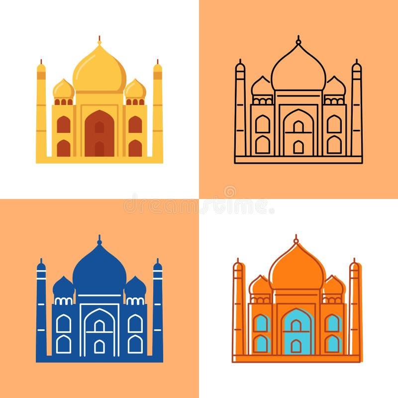 Ícone de Taj Mahal ajustado no plano e na linha estilos ilustração royalty free