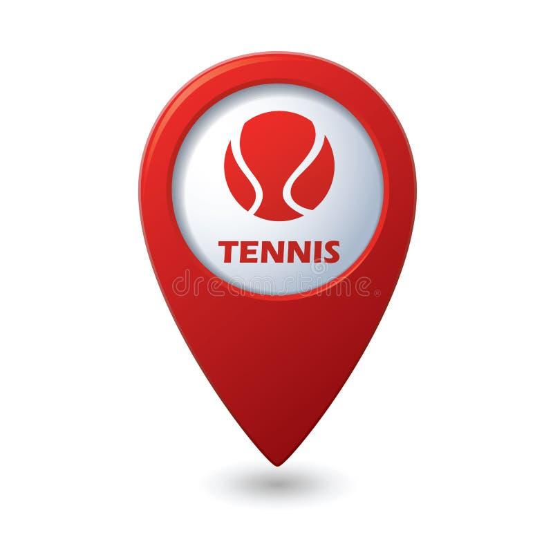 Ícone de Tennisl no ponteiro do mapa ilustração do vetor
