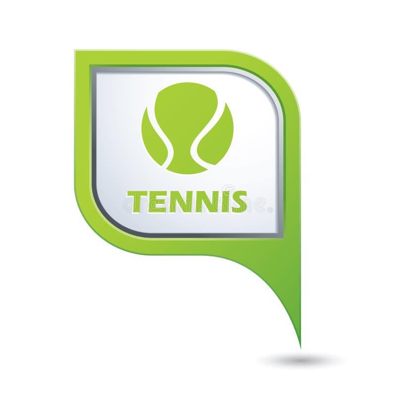 Ícone de Tennisl no ponteiro do mapa ilustração stock