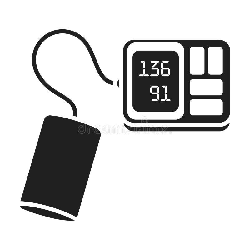 Ícone de Tonometer no estilo preto isolado no fundo branco Ilustração do vetor do estoque do símbolo da medicina e do hospital ilustração royalty free