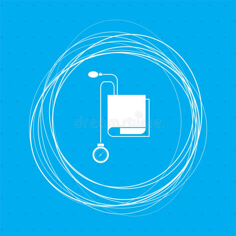 Ícone de Tonometer Verificador da pressão sanguínea em um fundo azul com círculos abstratos em torno e lugar para seu texto ilustração do vetor