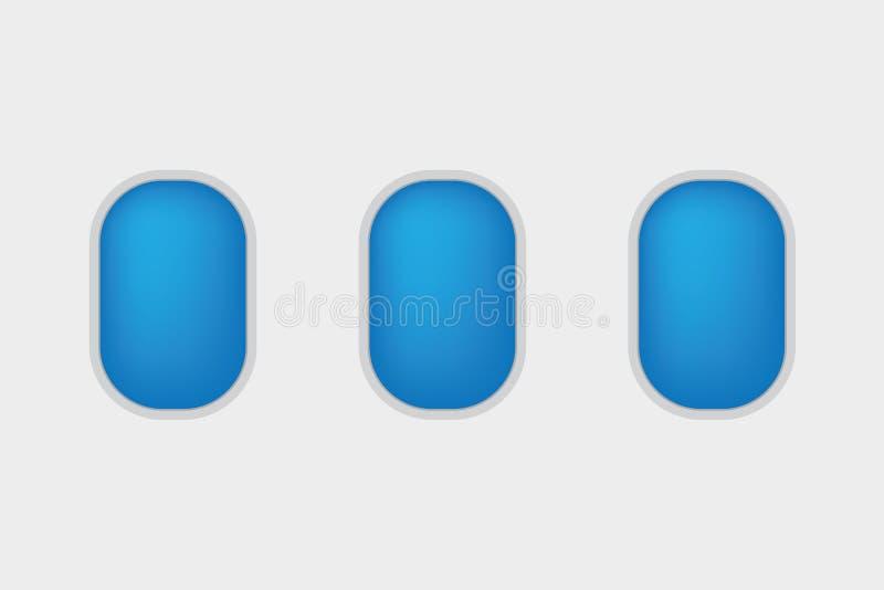 Ícone de três janelas dos aviões ilustração royalty free