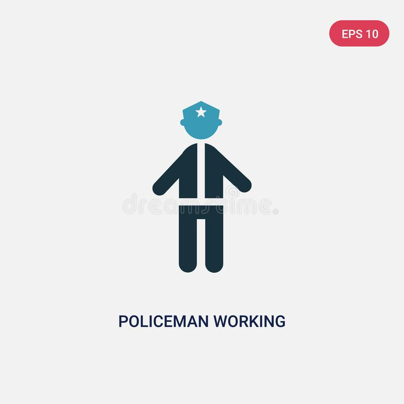 Ícone de trabalho do vetor do polícia de duas cores do conceito dos povos o símbolo de trabalho isolado do sinal do vetor do polí ilustração royalty free
