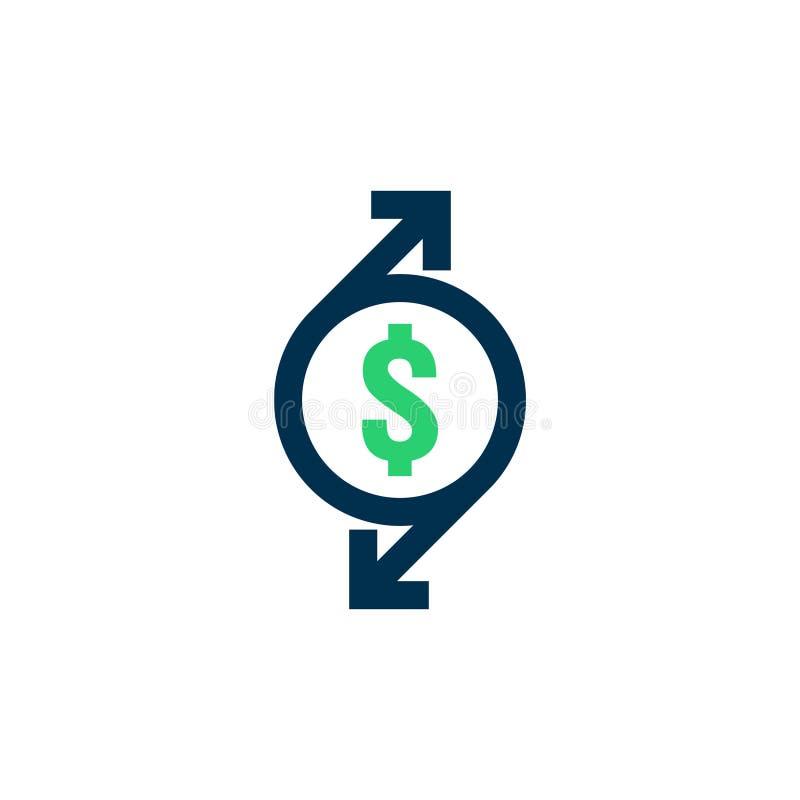 Ícone de transferência de dinheiro Sinal do contorno do estorno símbolo rápido da parte traseira do dinheiro do fundo A troca de  ilustração stock
