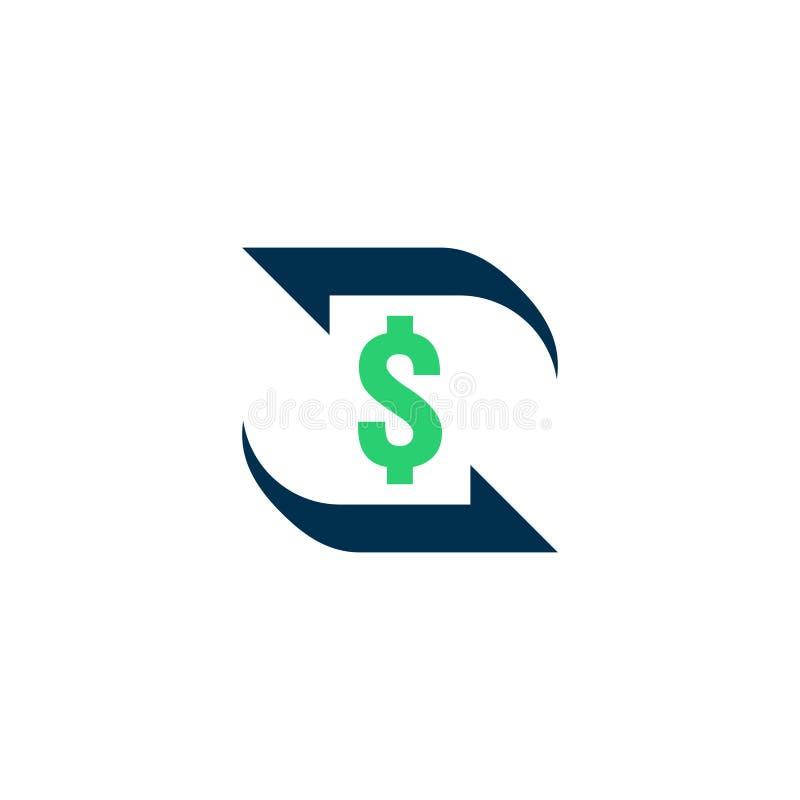 Ícone de transferência de dinheiro Sinal do contorno do estorno símbolo rápido da parte traseira do dinheiro do fundo A troca de  ilustração do vetor