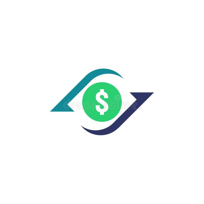 Ícone de transferência de dinheiro Sinal do contorno do estorno símbolo rápido da parte traseira do dinheiro do fundo A troca de  ilustração royalty free