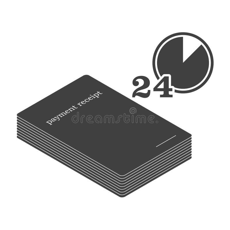 Ícone de uma pilha de papel dos recibos para o pagamento com a imagem de um pulso de disparo no canto Vetor no fundo branco ilustração stock