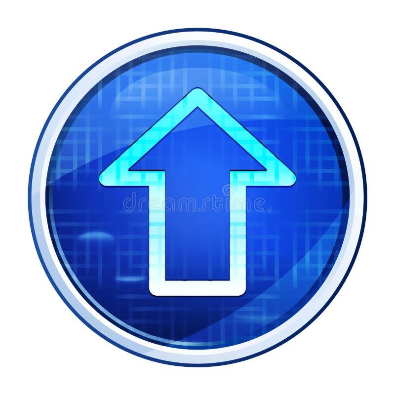 Ícone de upload ilustração vetorial do botão redondo azul futurístico imagens de stock