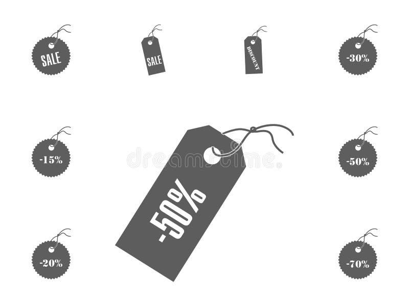 ícone de 50 vendas Ícones da ilustração do vetor da venda e do disconto ajustados ilustração stock