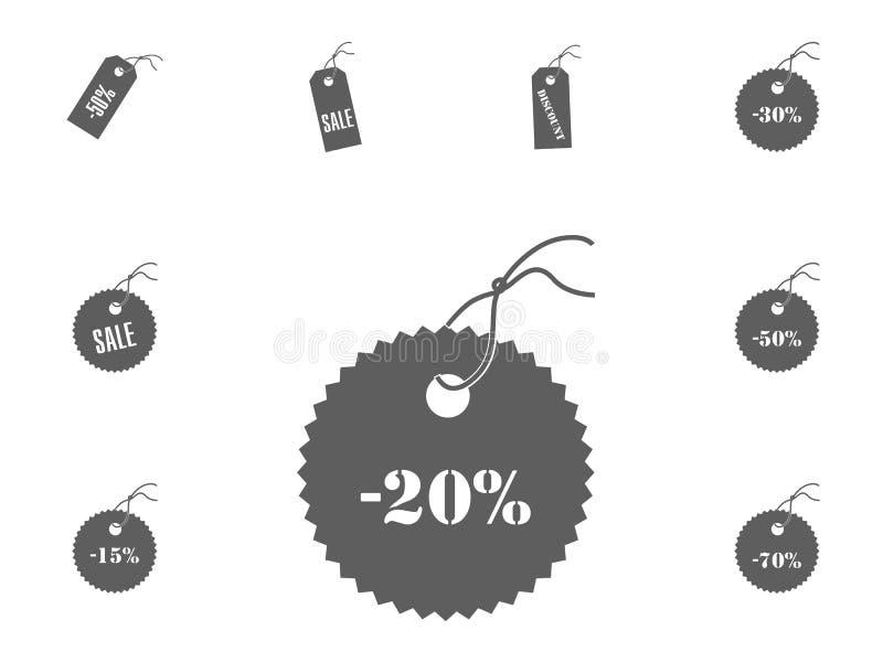ícone de 20 vendas Ícones da ilustração do vetor da venda e do disconto ajustados fotografia de stock royalty free