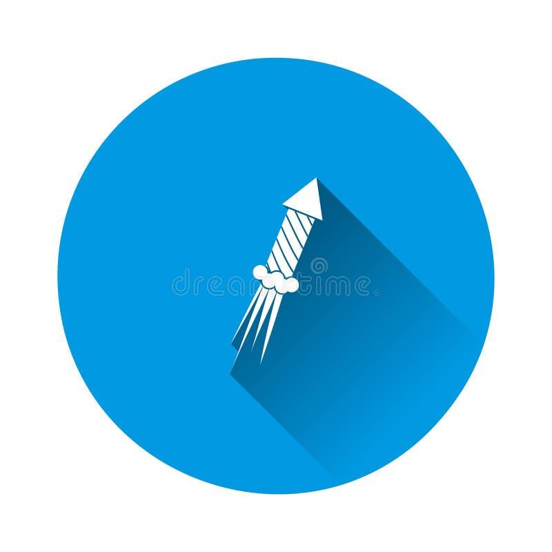 Ícone de vetor do Fireworks em fundo azul Imagem plana com sombra longa ilustração do vetor