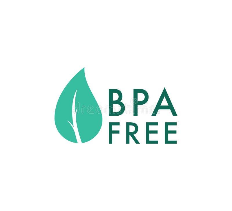 Ícone de vetor livre BPA, carimbo de pacote de alimentos seguros Folha de verificação gratuita do BPA saudável e selo de queda Ne ilustração stock
