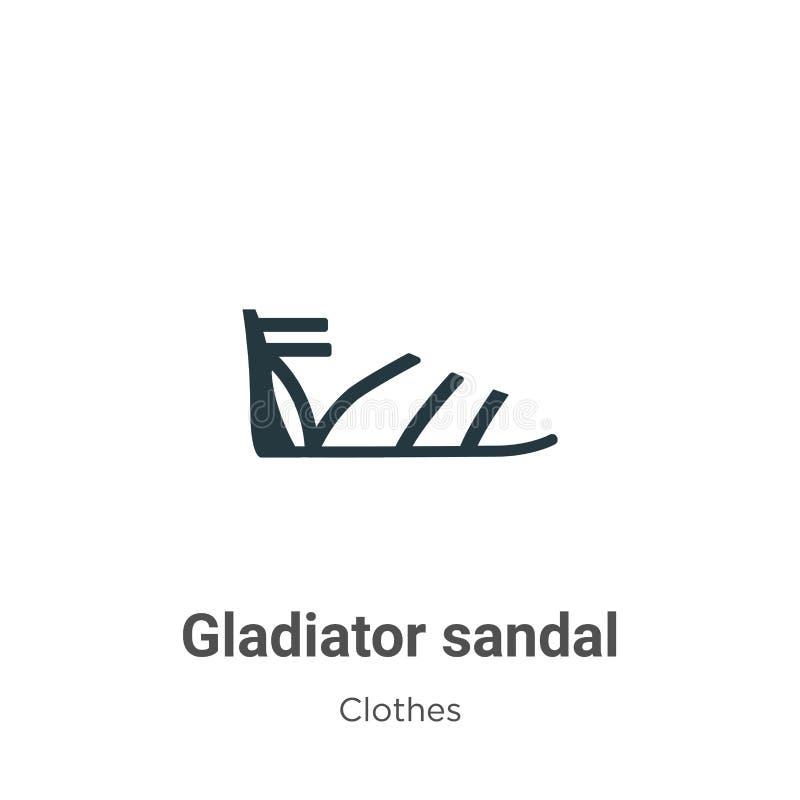 Ícone de vetor sandálio do Gladiator sobre fundo branco Símbolo de ícone de sandália de vetor plano da coleção de roupas modernas ilustração do vetor