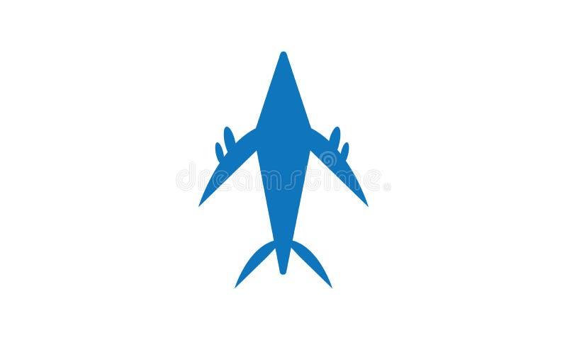 Ícone de viagem do avião - vetor Jet Plane Design Logo Template ilustração stock