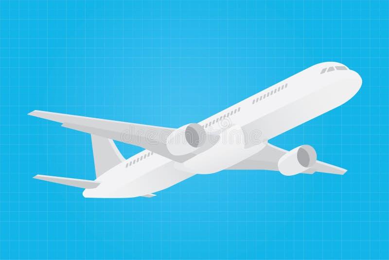 Ícone de viagem do cartaz Lets com plano do avião ilustração do vetor