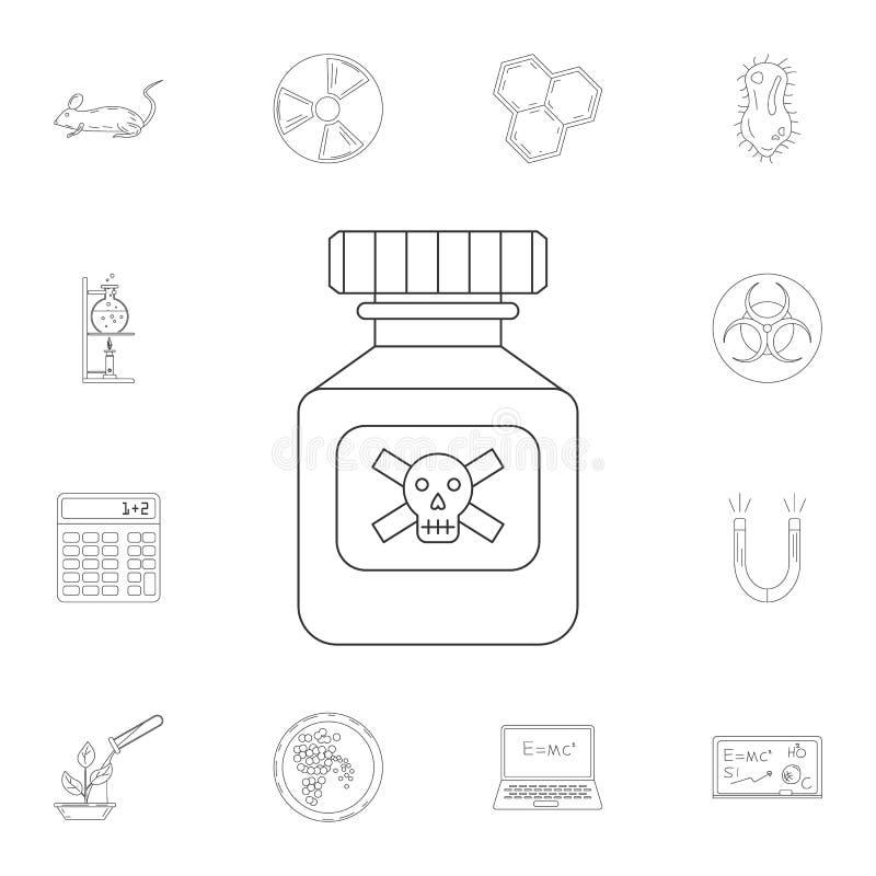 Ícone de vidro da garrafa do veneno Grupo detalhado de ilustrações da ciência e do laboratório Ícone superior do projeto gráfico  ilustração royalty free