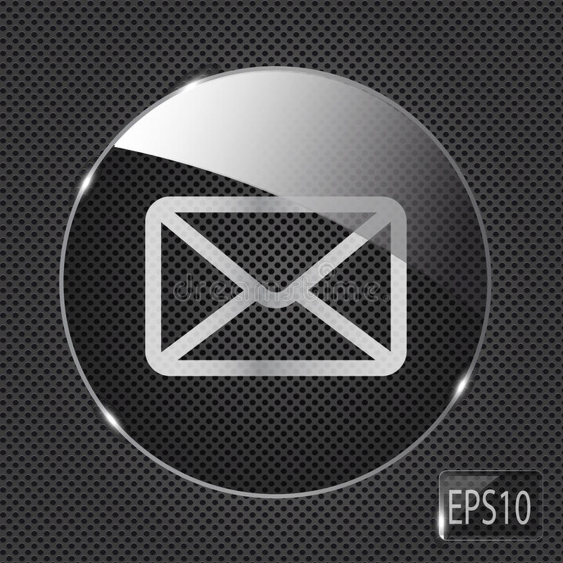 Ícone de vidro do botão do correio no fundo do metal. Vetor ilustração do vetor