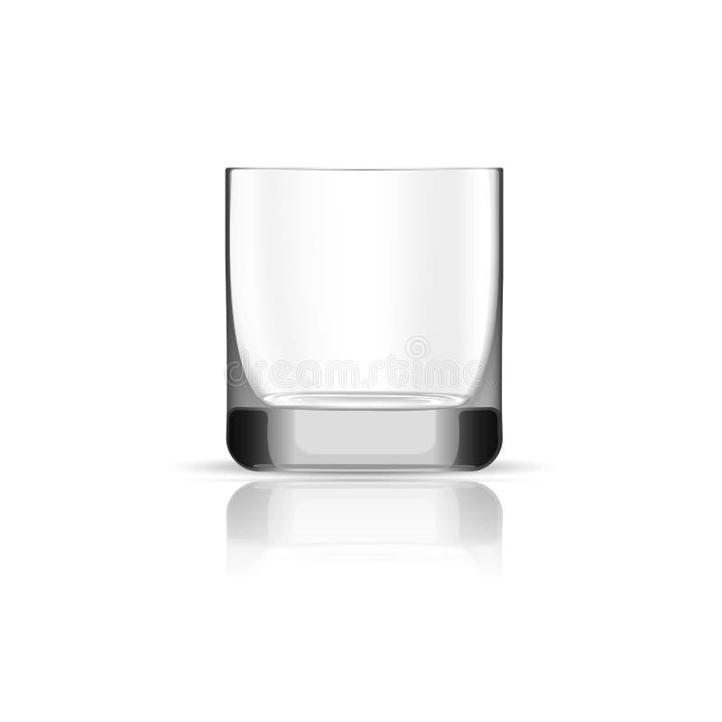 Ícone de vidro do uísque vazio, estilo realístico ilustração stock