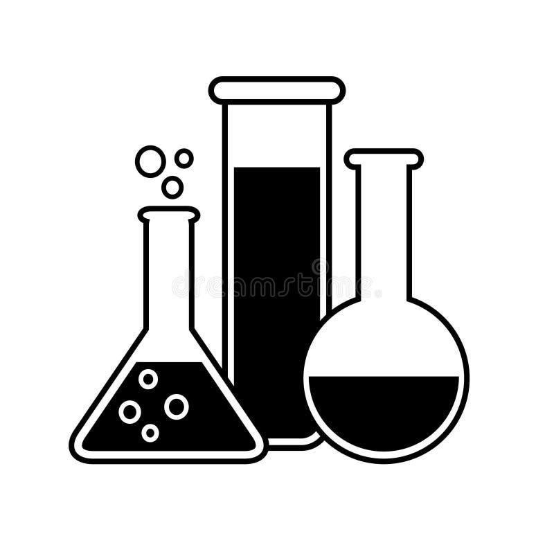 Ícone de vidro do vetor do laboratório garrafas e tubo de ensaio da experiência do equipamento dos produtos vidreiros Símbolo mod ilustração royalty free