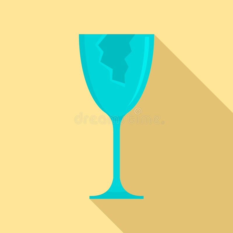 Ícone de vidro rachado, estilo liso ilustração royalty free
