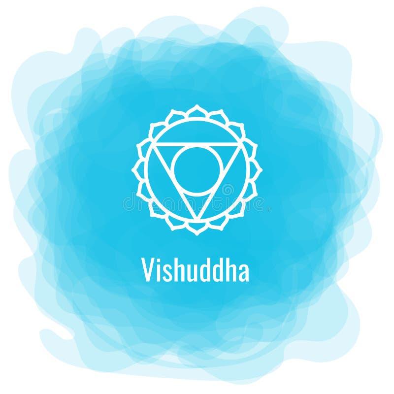 Ícone de Vishuddha O quinto chakra gutural Círculo fumarento azul do vetor Linha símbolo Sinal sacral meditation ilustração do vetor